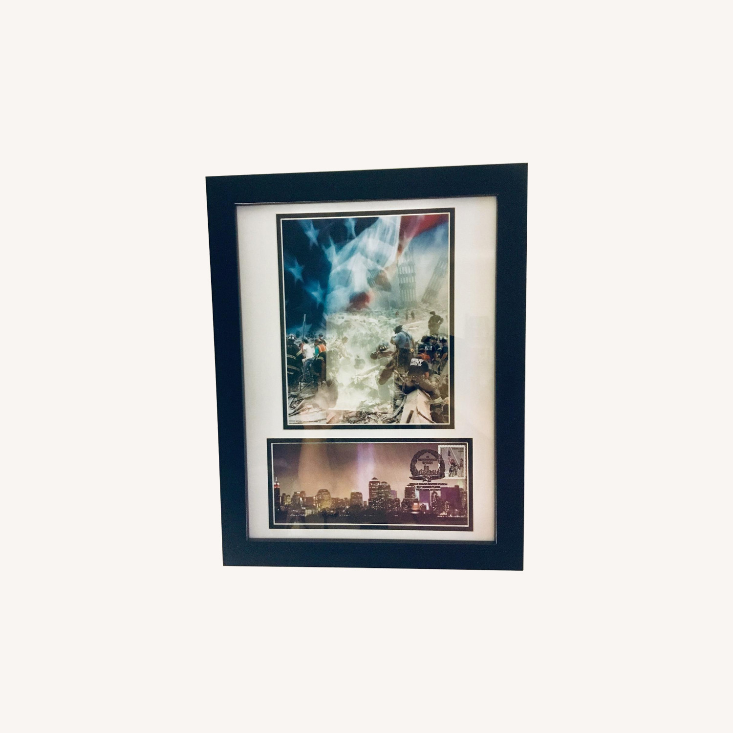 Framed Historic Photos of 9/11 w/ Tower Lights/Heroes Stamp