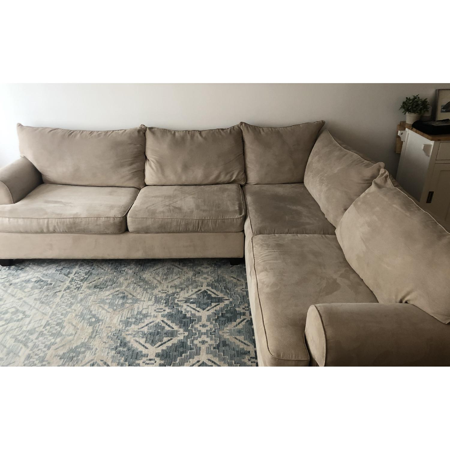 Raymour & Flanigan 2 Piece Stone Microfiber Sectional Sofa