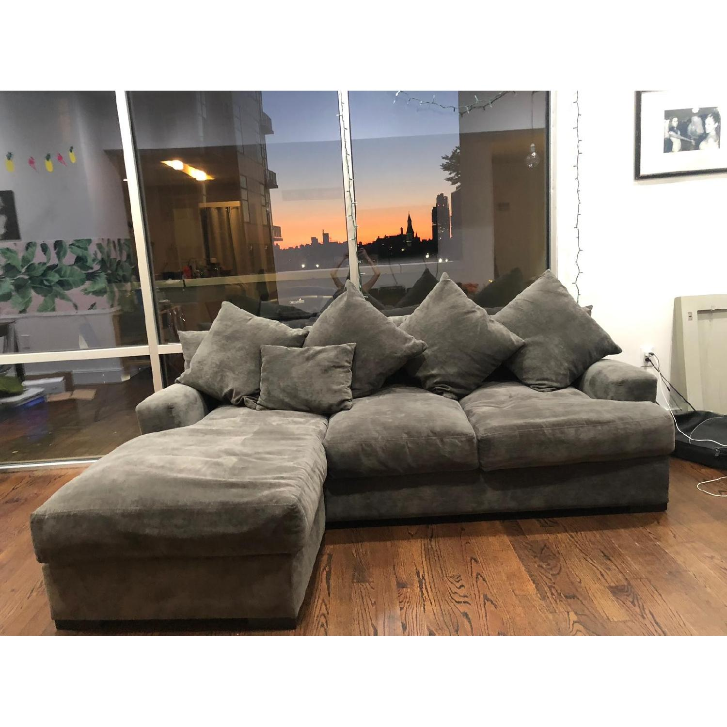 Gallery Furniture Grey Suede L Shaped Sectional Sofa
