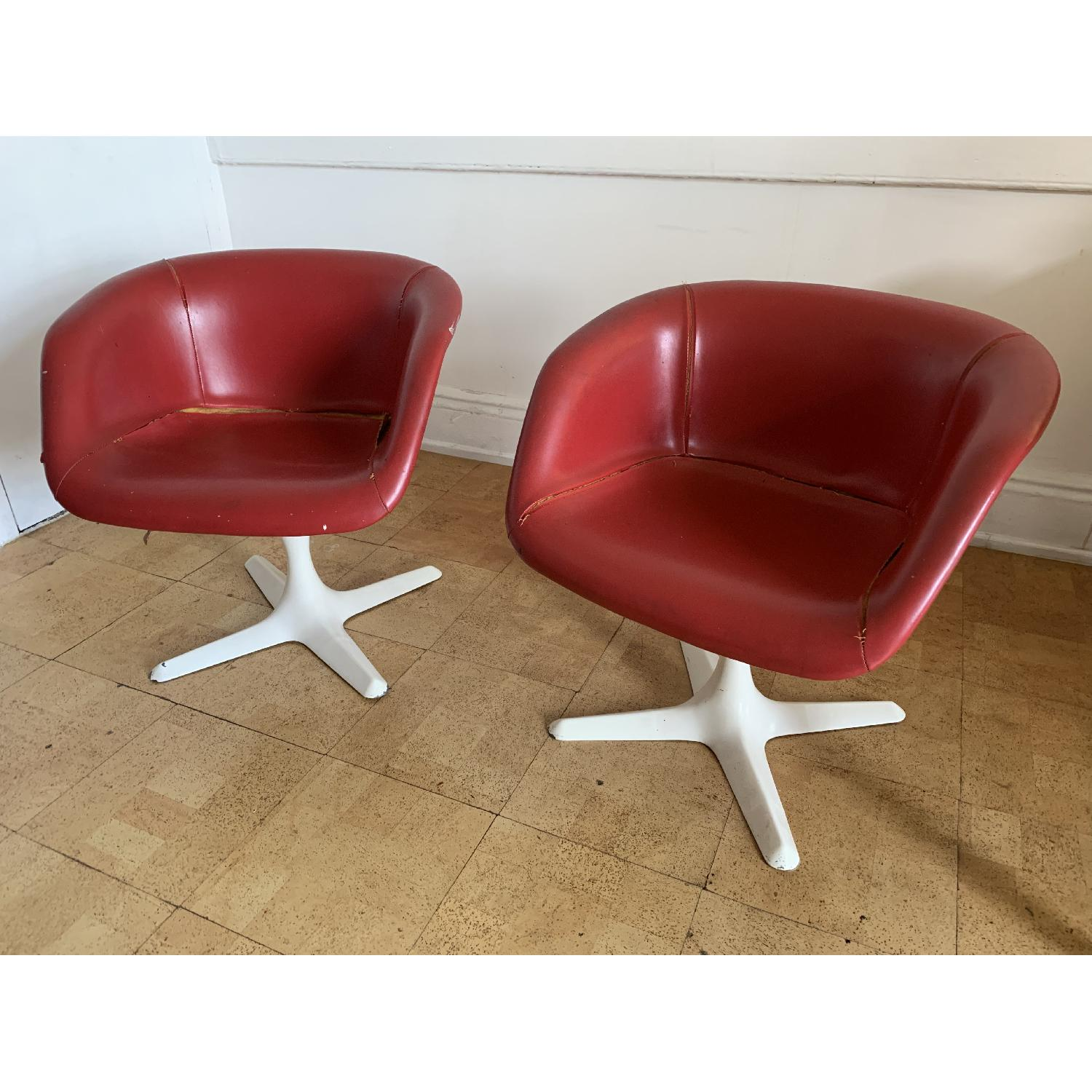 Faux Leather Upholstered Mid Century Style Molded Armchairs
