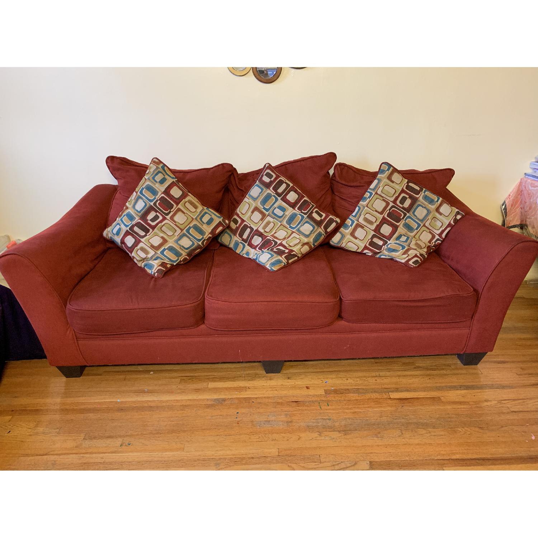 Bob's Red Fabric Sofa w/ Pillows