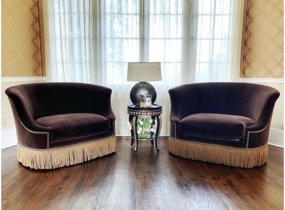 Marge Carson Velvet Chairs And A Half   AptDeco