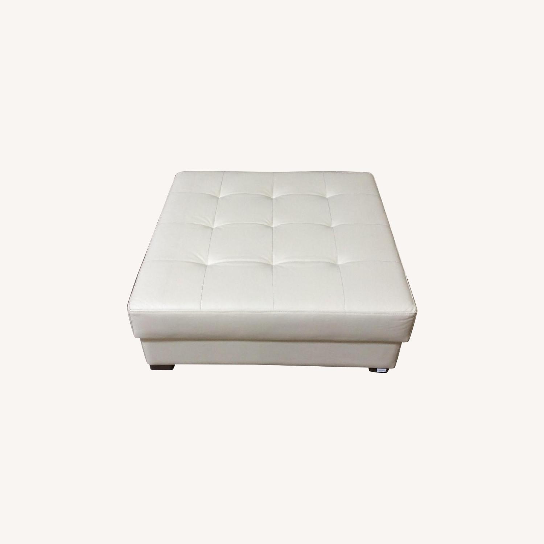 Lazzoni Furniture Leather Ottoman - image-0