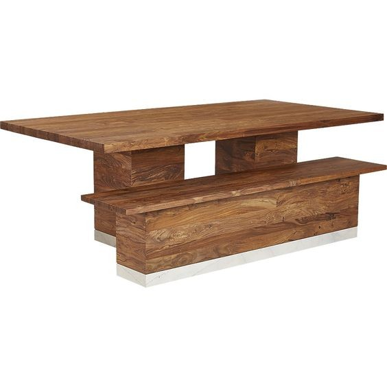 CB2 Modern Rustic Dining Table w/ 1 Bench