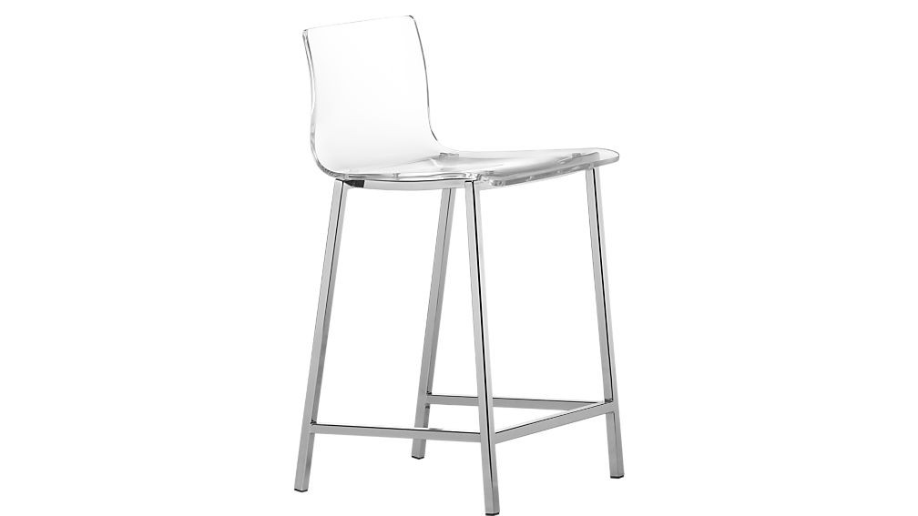 CB2 Clear Acrylic & Chrome Bar Stools