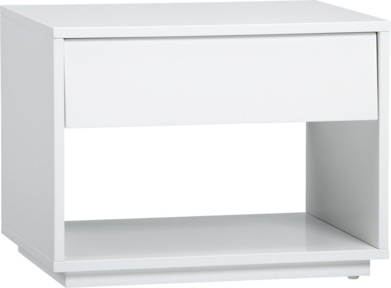 CB2 White Lacquer Nightstand