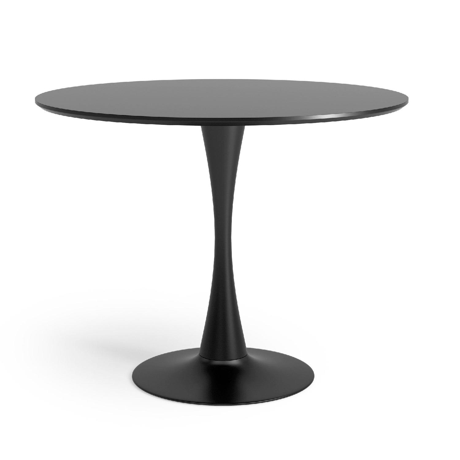 George Oliver Mid Century Modern Black Round Dining Table ...