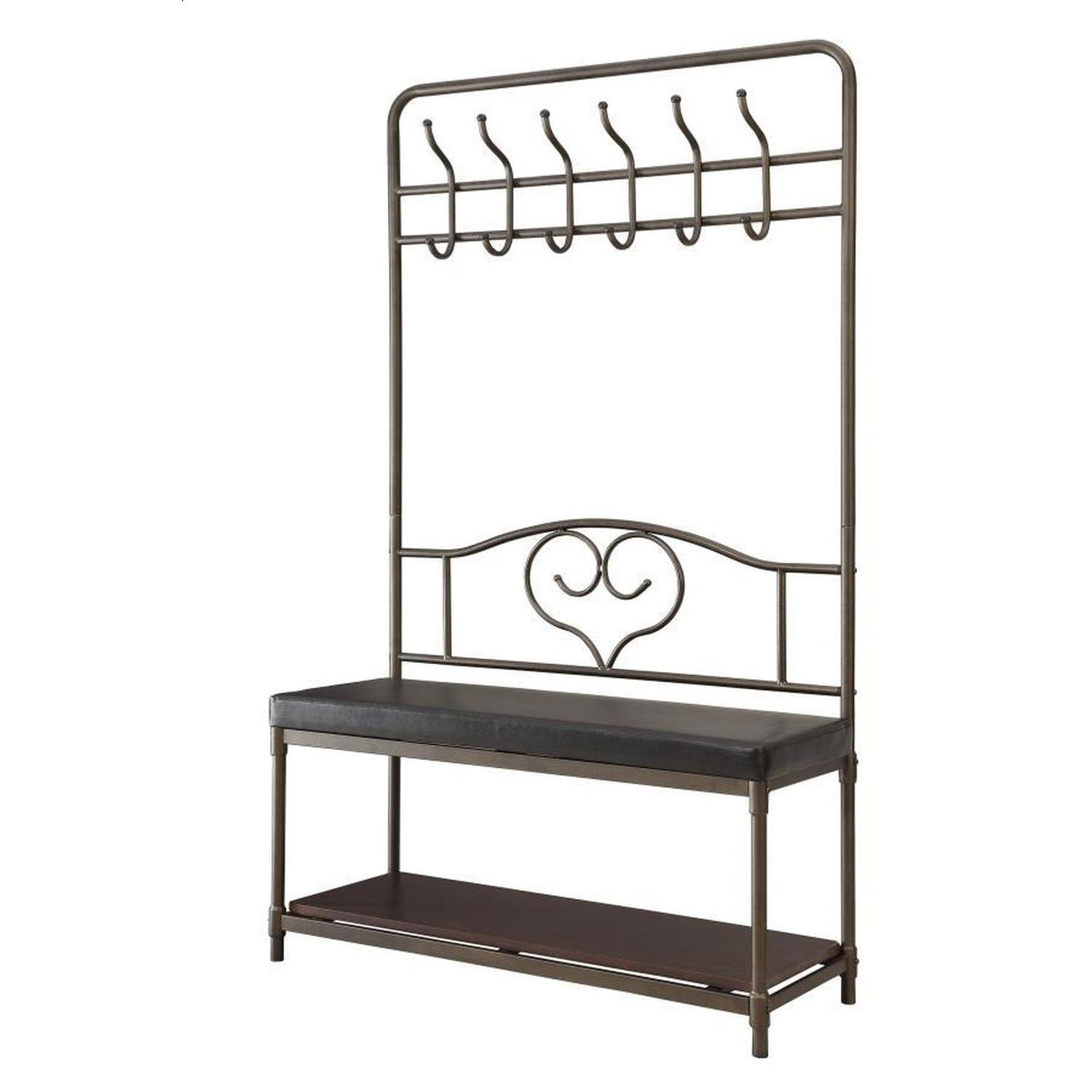 Hall Tree w/ Garment Racks, Storage Shelf & Cushioned Seat - image-1