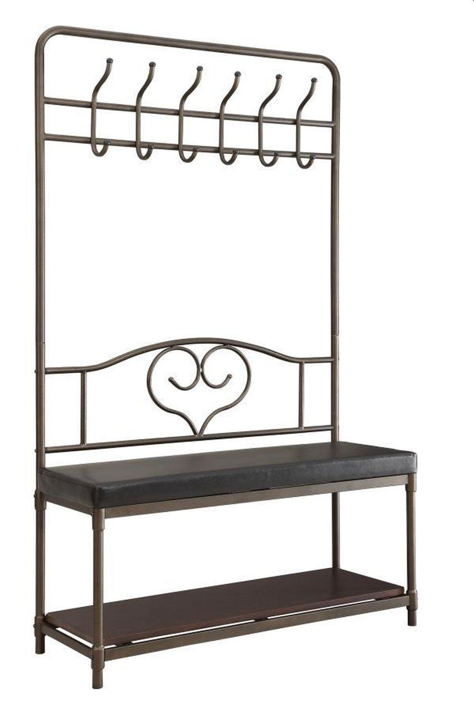 Hall Tree w/ Garment Racks, Storage Shelf & Cushioned Seat