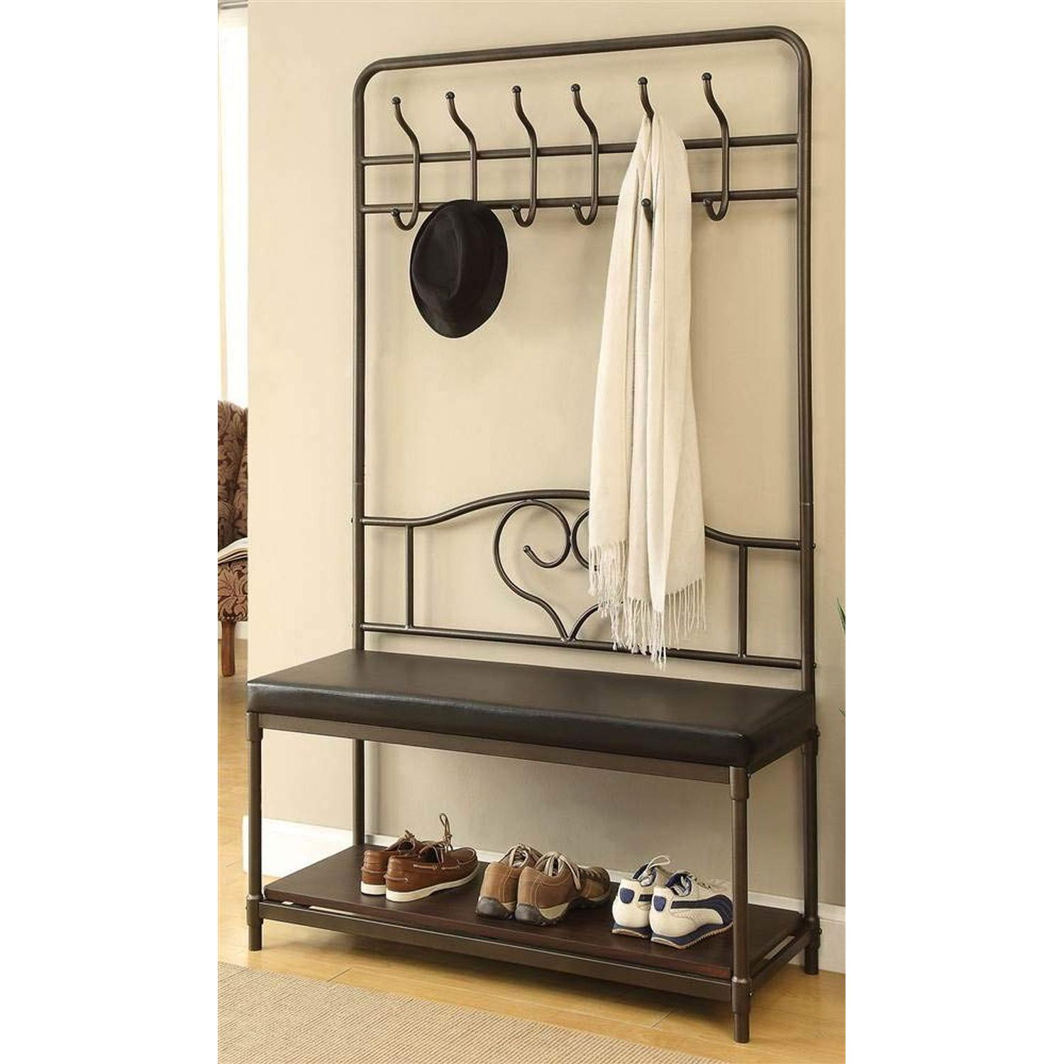 Hall Tree w/ Garment Racks, Storage Shelf & Cushioned Seat - image-2