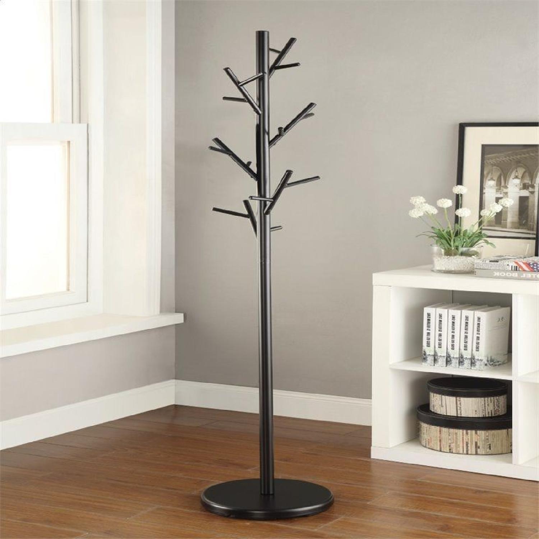 Black Coat Rack w/ Tree-Branch Inspired Design - image-2