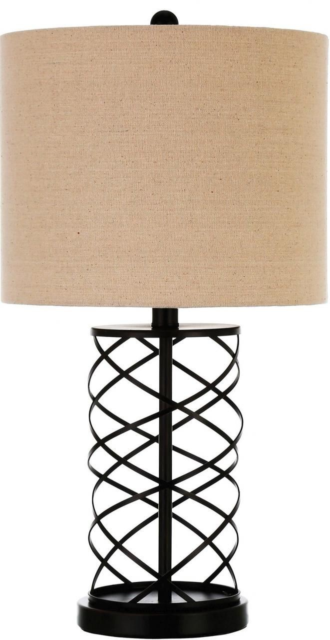 Modern Table Lamp w/ Twisted Metal Pattern Base & Drum Shade