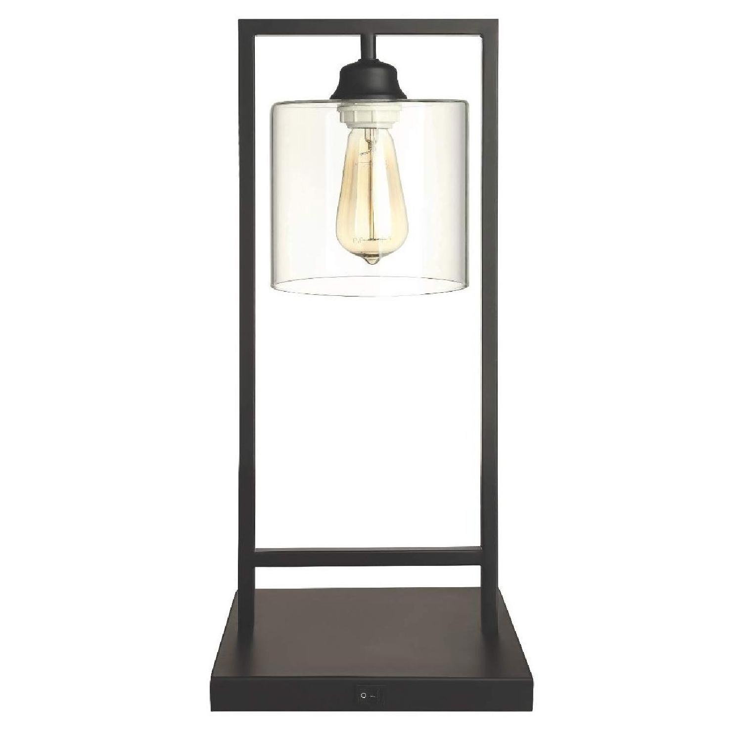 Modern Table Lamp in Black Metal w/ Clear Shade - image-0
