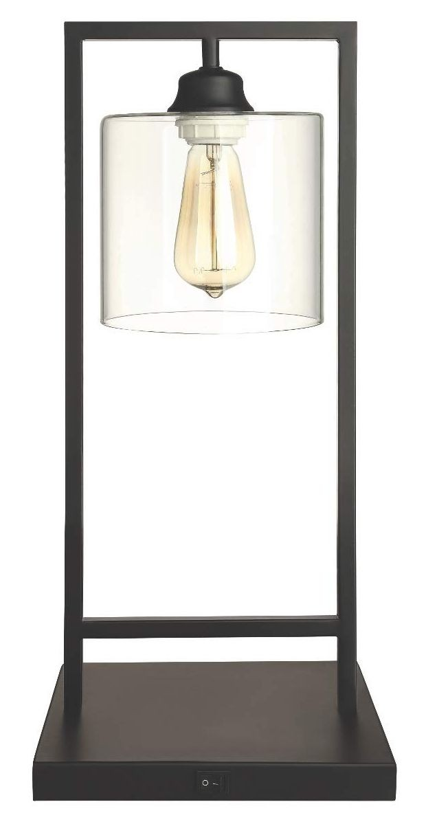 Modern Table Lamp in Black Metal w/ Clear Shade