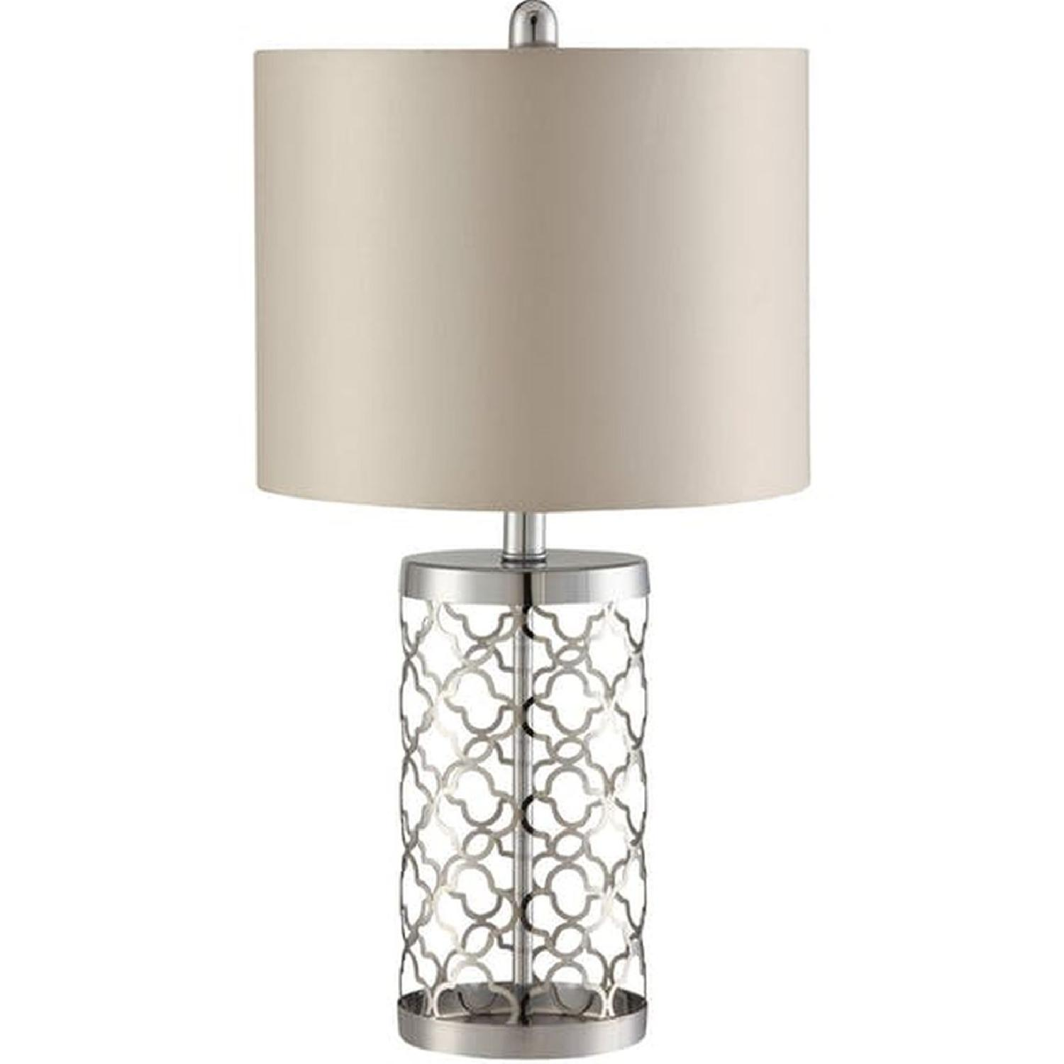 Table Lamp in Light Gold Base w/ Cut-Out Pattern - image-0