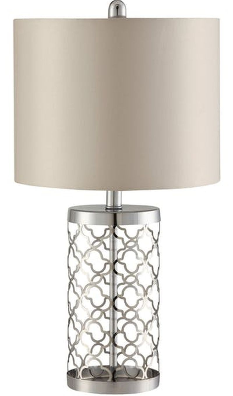 Table Lamp in Light Gold Base w/ Cut-Out Pattern
