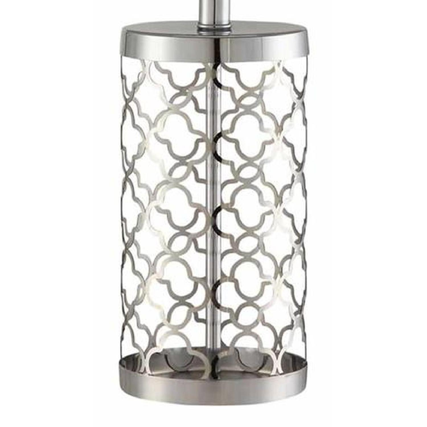 Table Lamp in Light Gold Base w/ Cut-Out Pattern - image-2