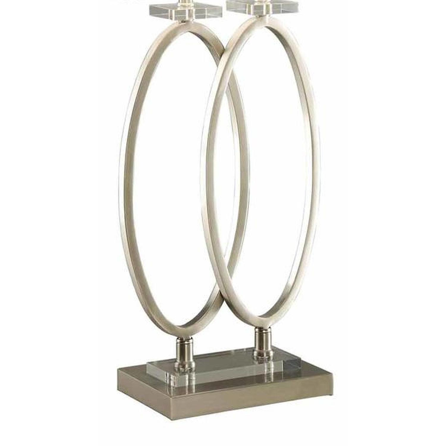 Modern Table Lamp w/ Twin Standing Rings on Rectangle Base - image-2
