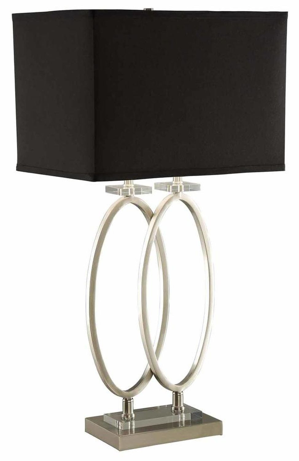 Modern Table Lamp w/ Twin Standing Rings on Rectangle Base