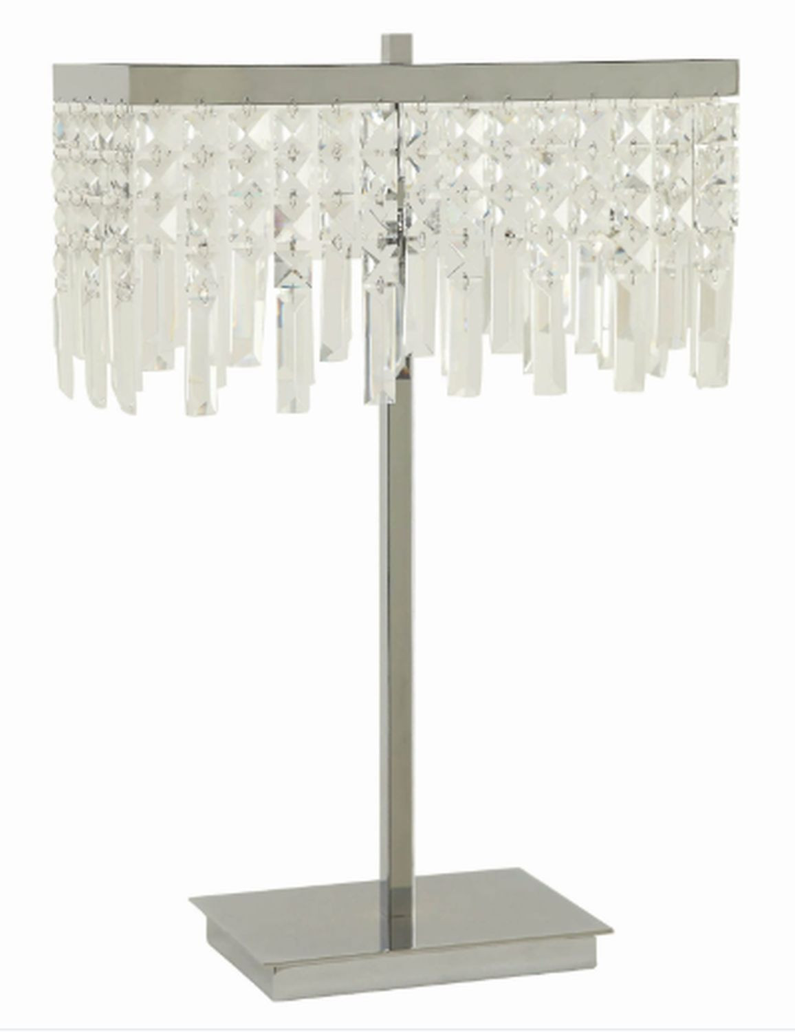 Table Lamp w/ Dropped Crystals Shade & Chrome Base