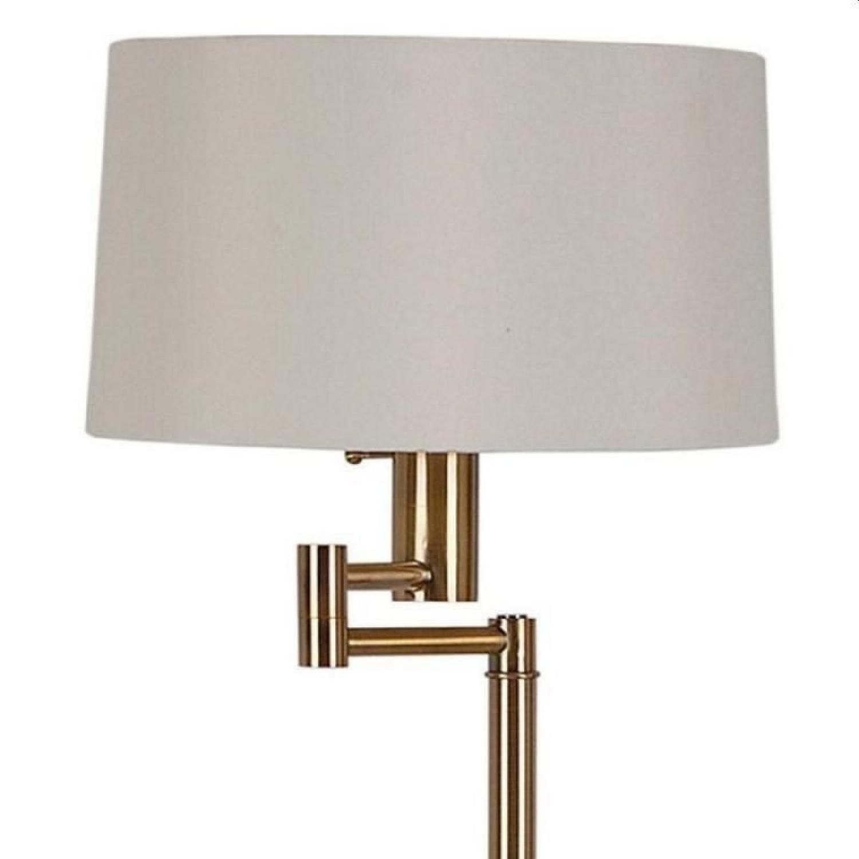Modern Floor Lamp w/ Adjustable Arm & Polished Brass Base - image-2