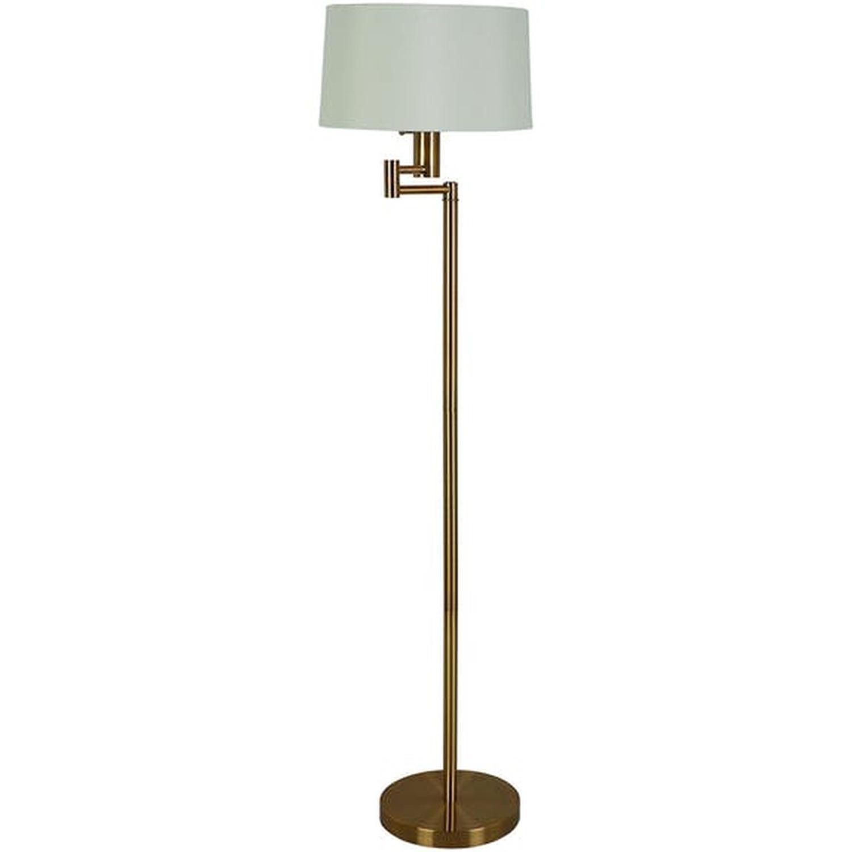 Modern Floor Lamp w/ Adjustable Arm & Polished Brass Base - image-0