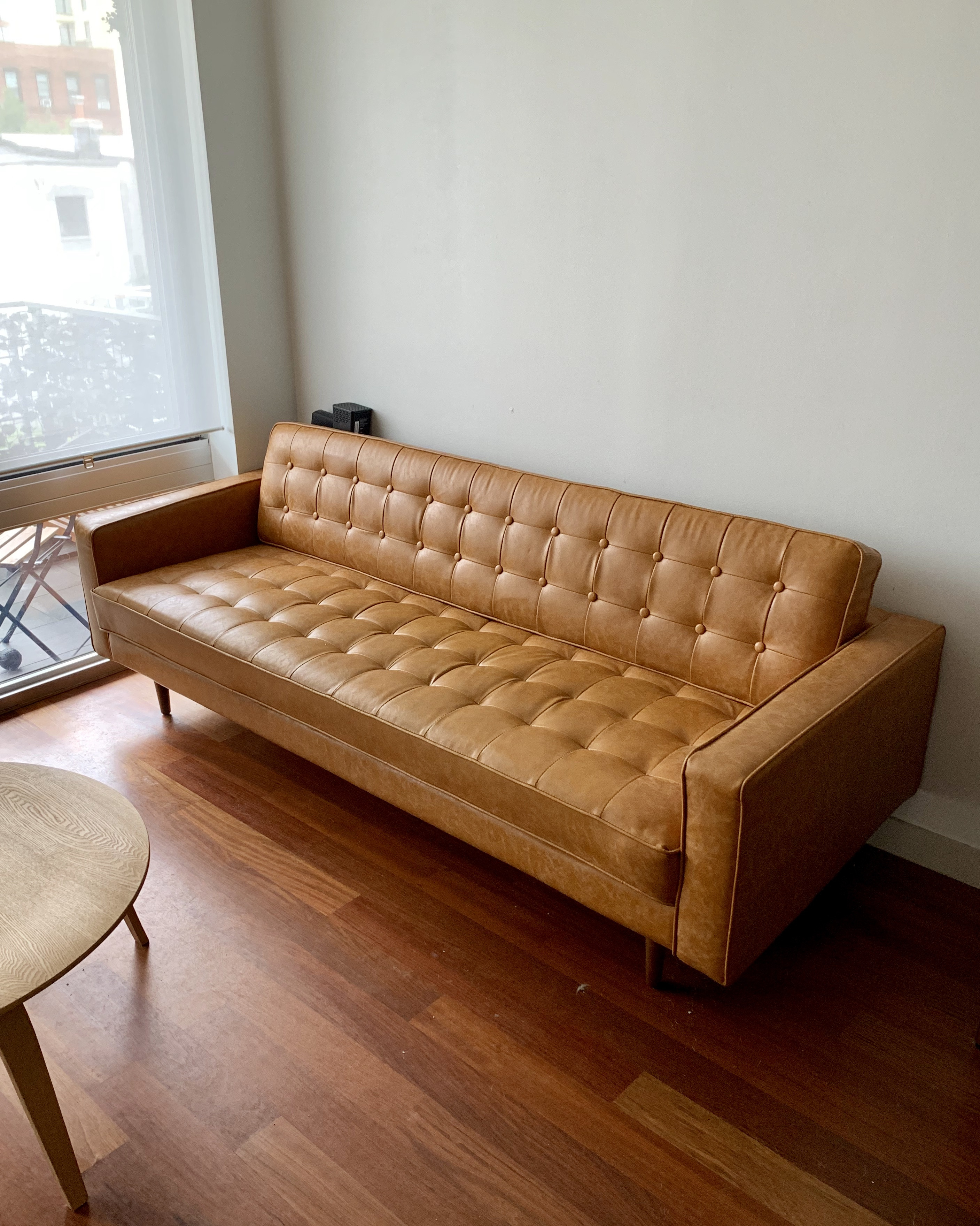 Modern Rustic Interiors Mid Century Vegan Leather Sofa   AptDeco