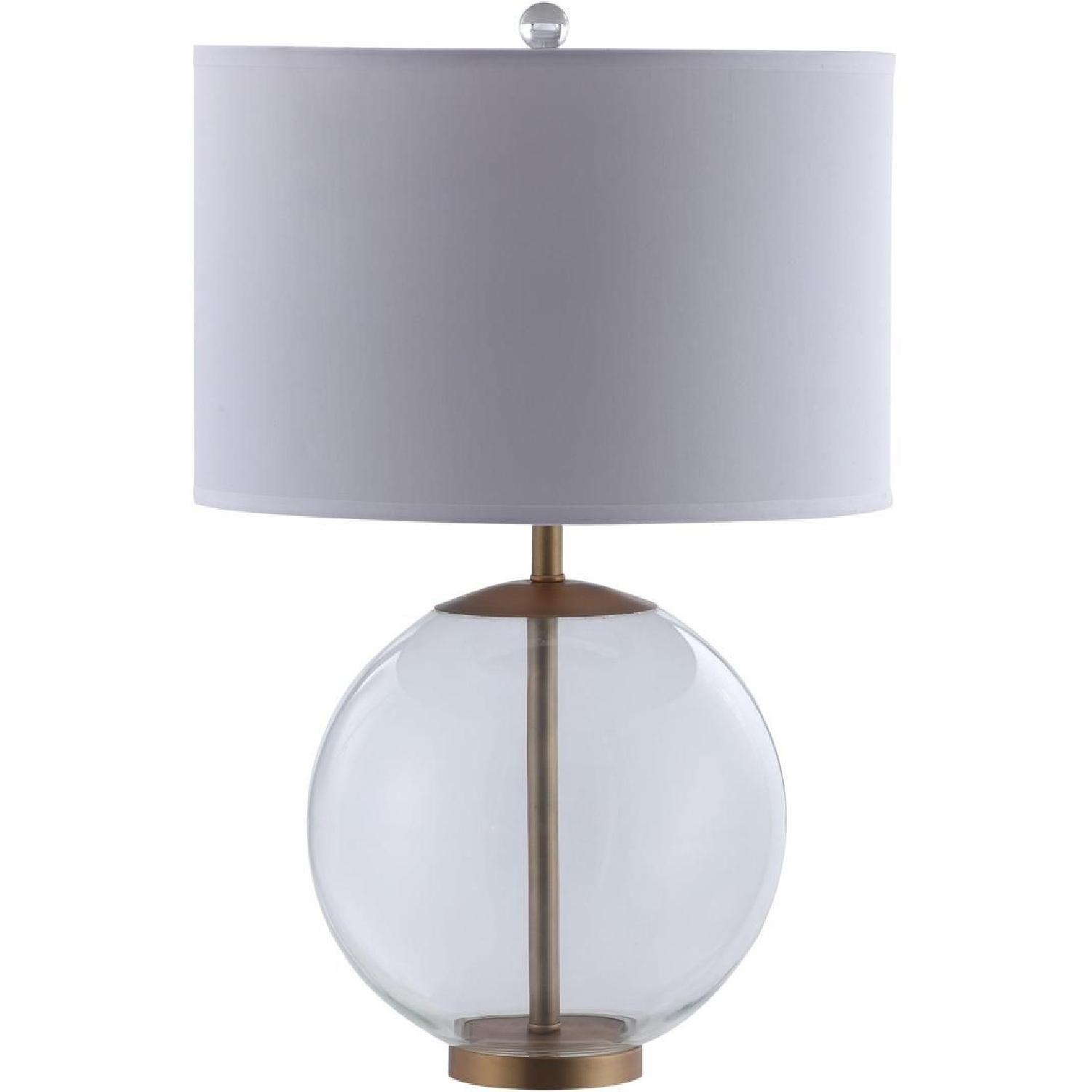 Table Lamp w/ Clear Glass Ball & Brass Base - image-0