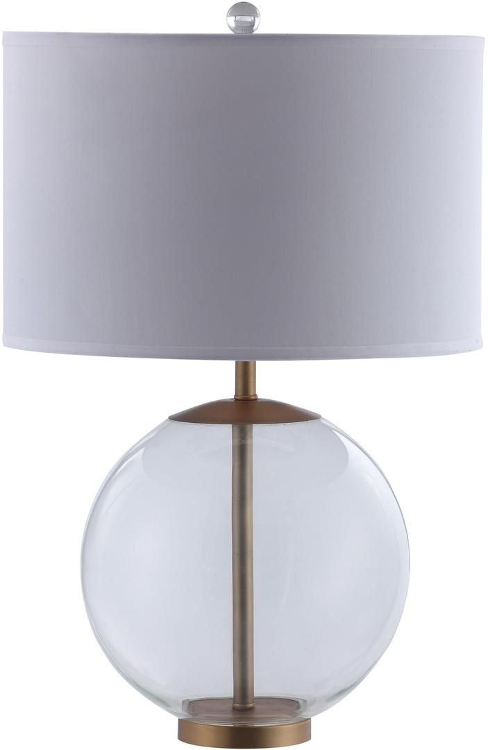 Table Lamp w/ Clear Glass Ball & Brass Base