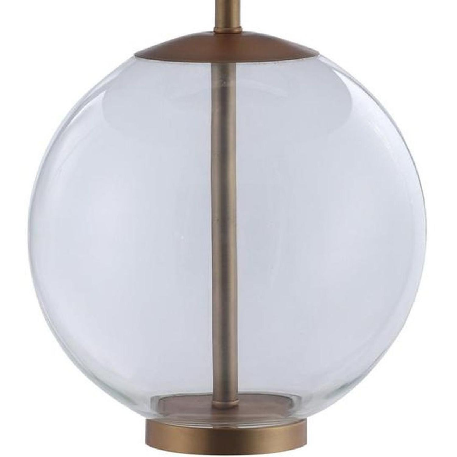 Table Lamp w/ Clear Glass Ball & Brass Base - image-2