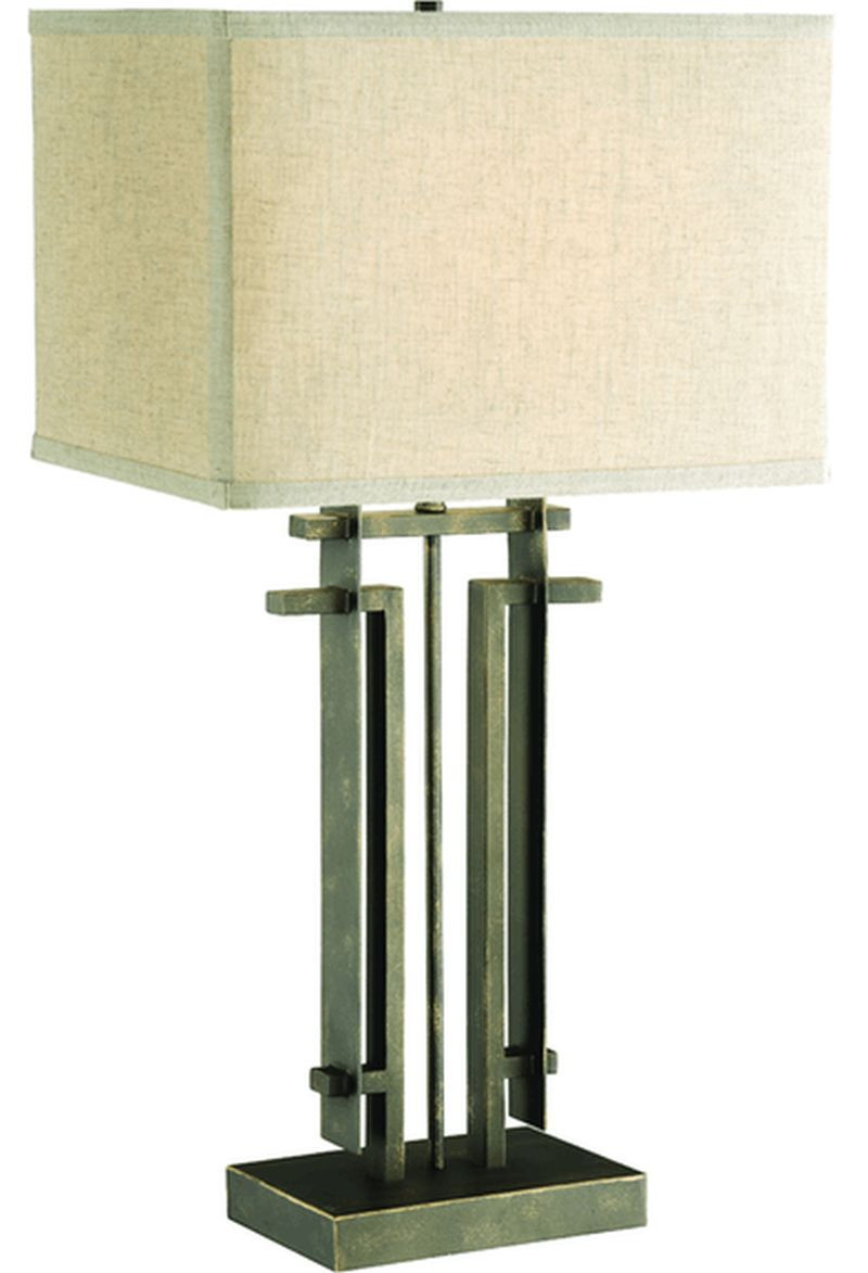 Table Lamp w/ Perpendicular Lines in an Architectural Frame