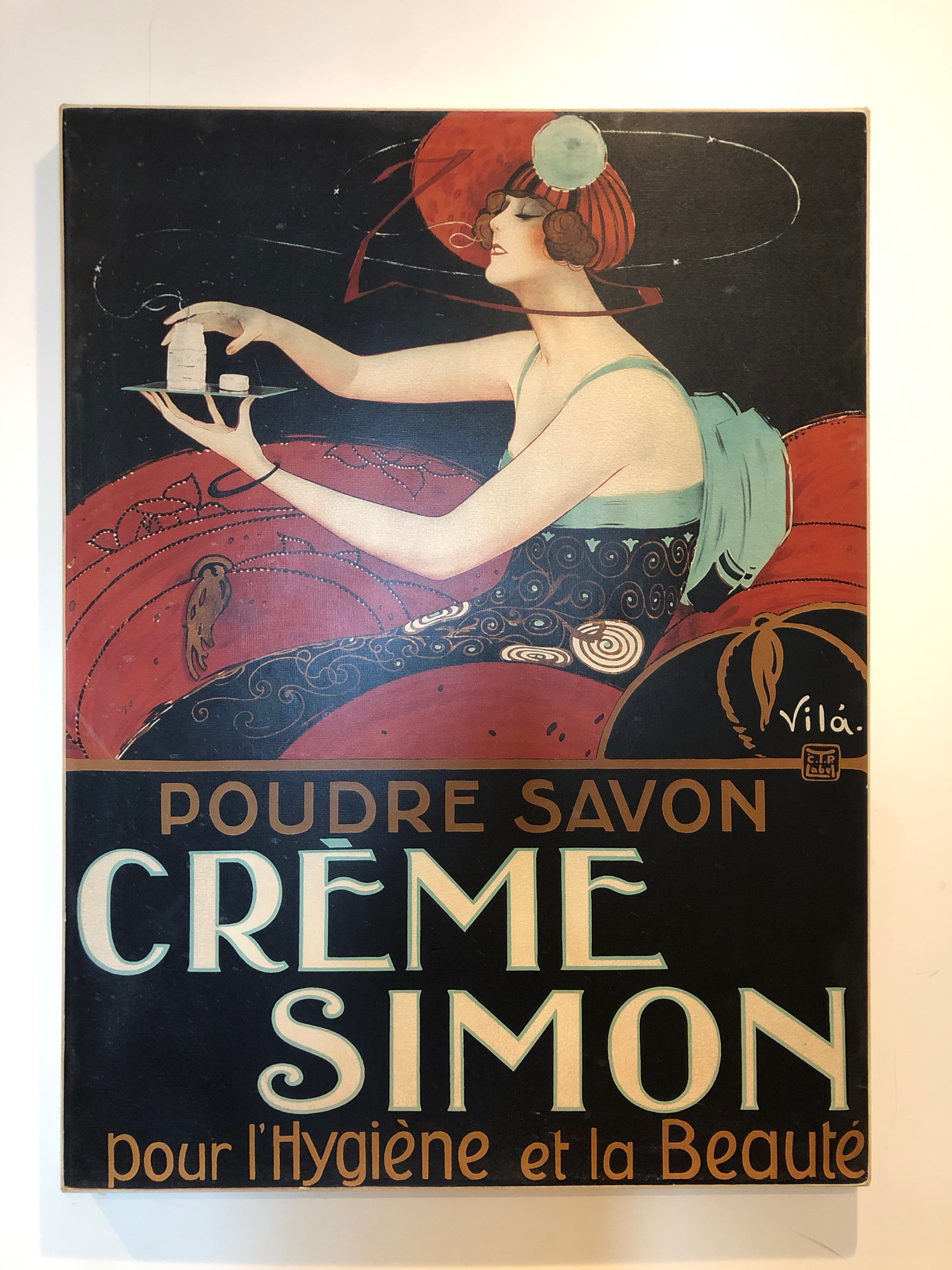 French Vintage Creme Simon Poster on Canvas