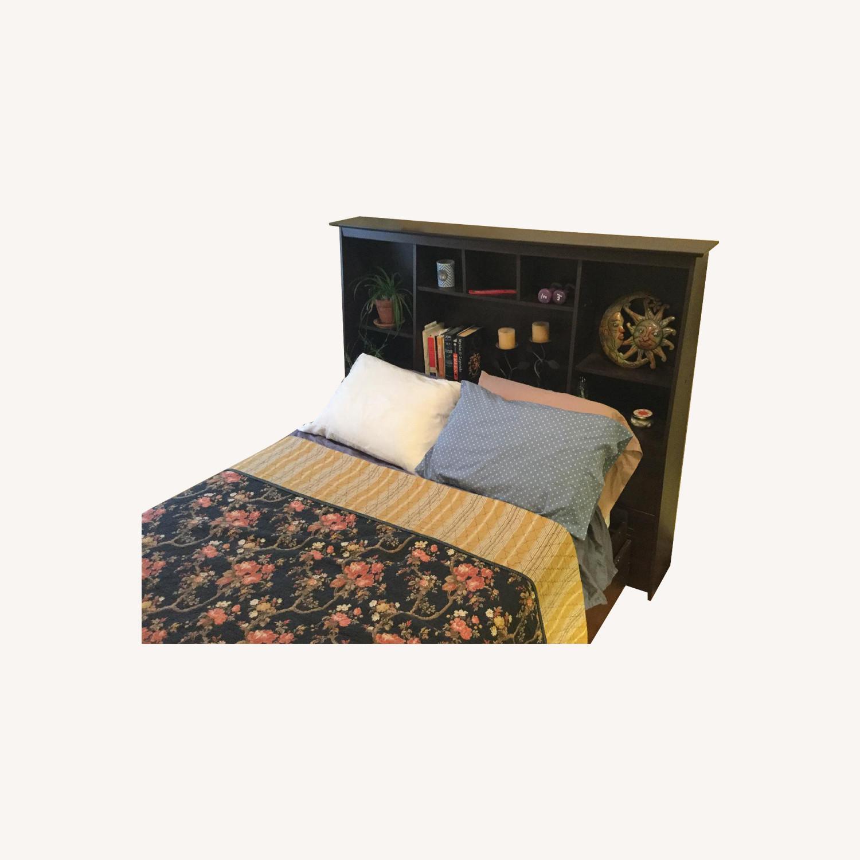 Prepac Full Platform Storage Bed W Bookcase Headboard Aptdeco