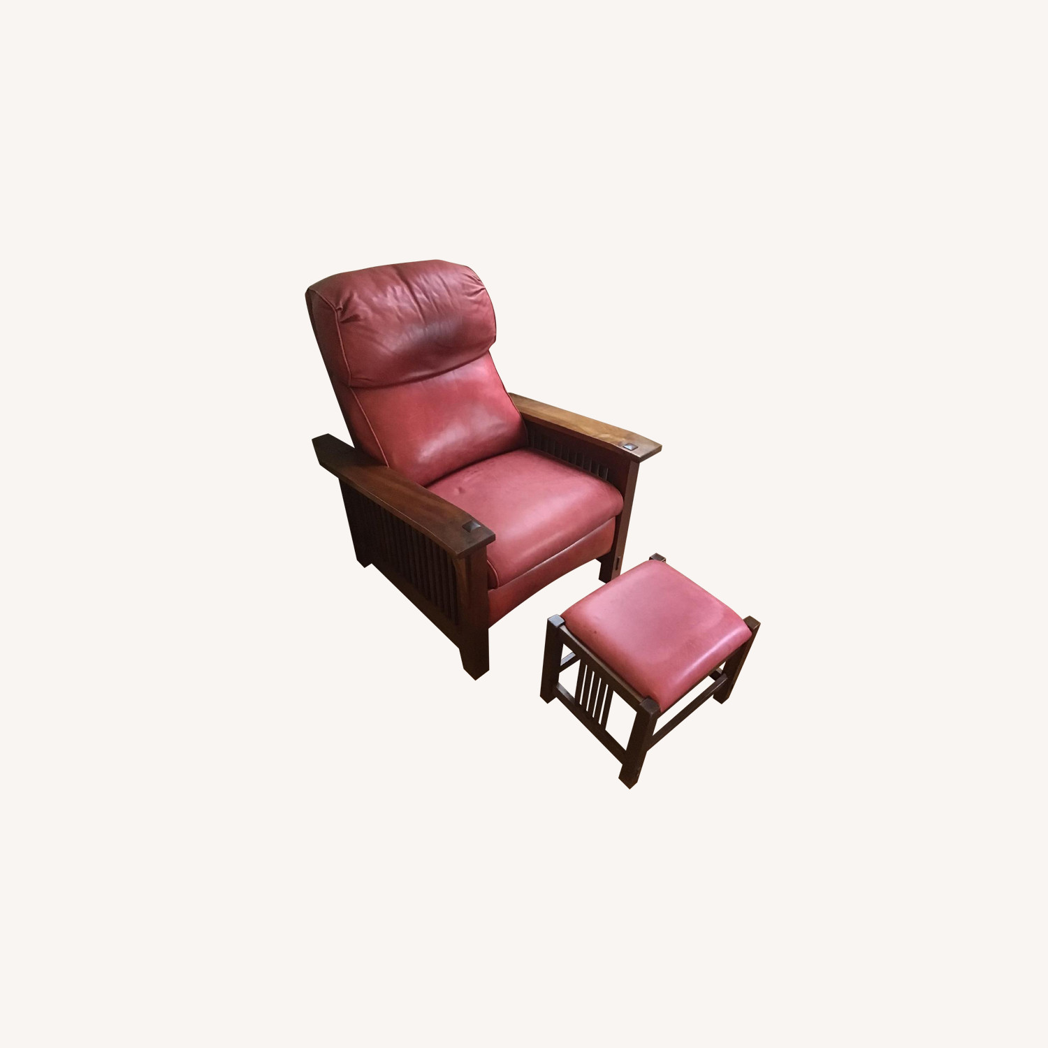 Stickley Red Leather Reclining Chair & Ottoman