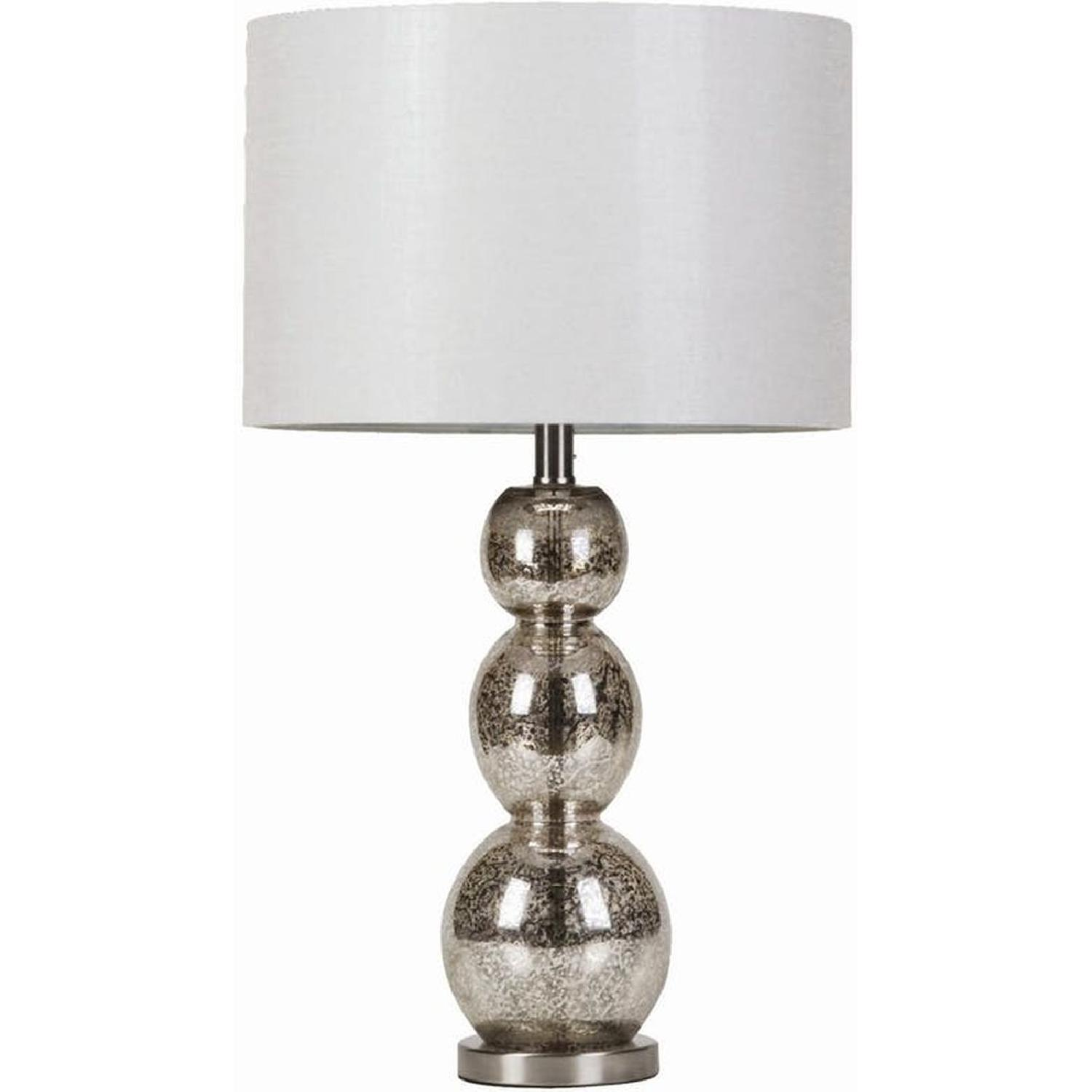 Modern Table Lamp w/ Base of Antique Silver Spheres - image-0