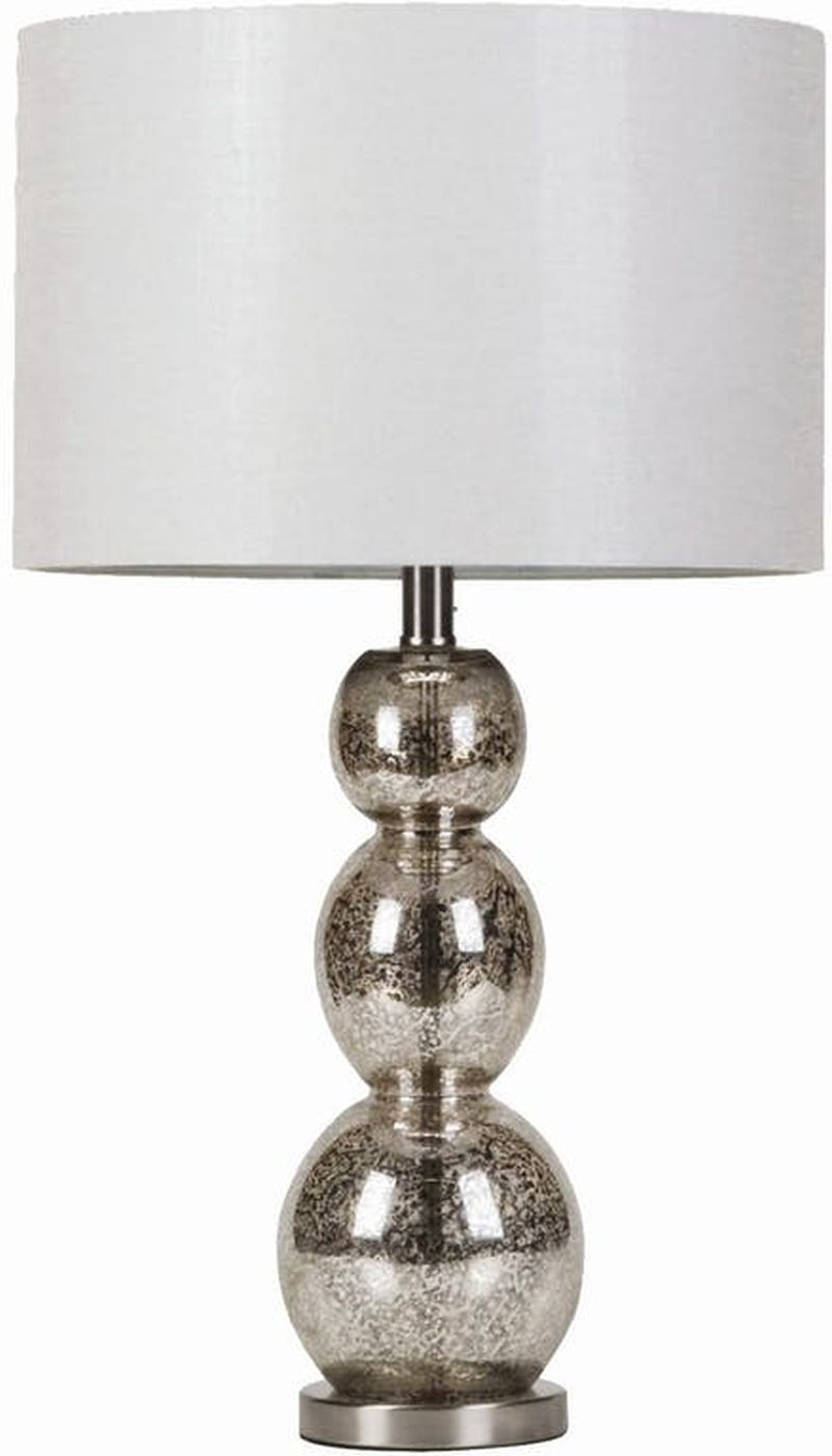 Modern Table Lamp w/ Base of Antique Silver Spheres