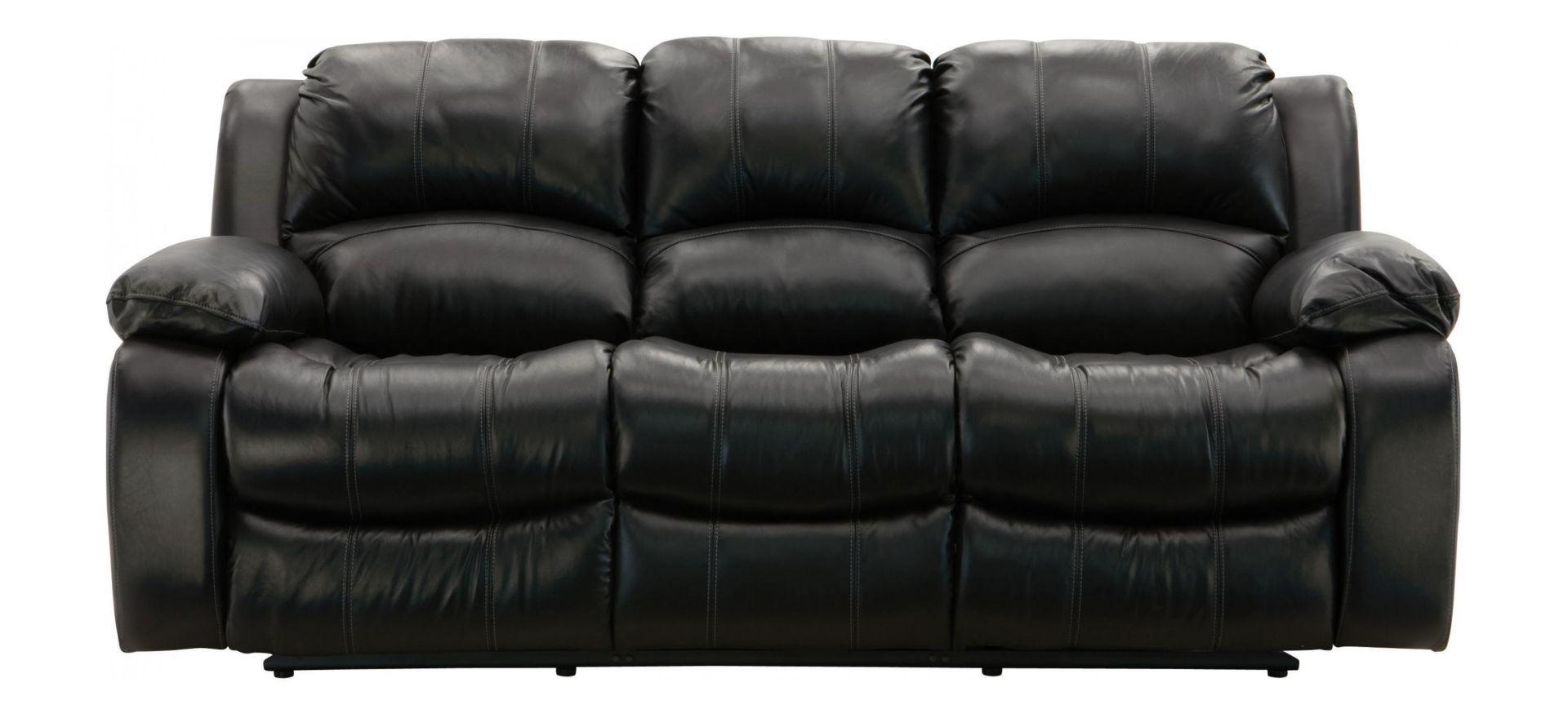 Raymour & Flanigan Black Leather Reclining 3-Seater Sofa ...