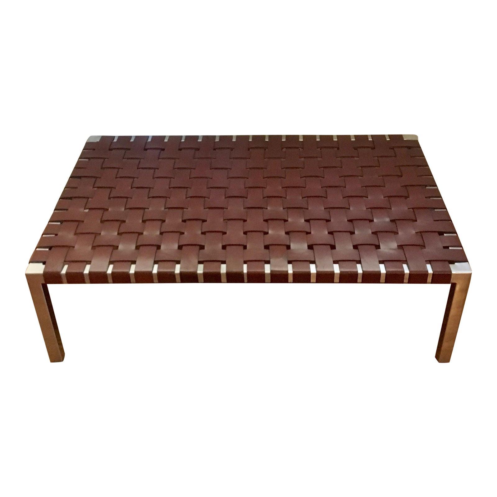 Ralph Lauren Woven Leather & Chrome Table