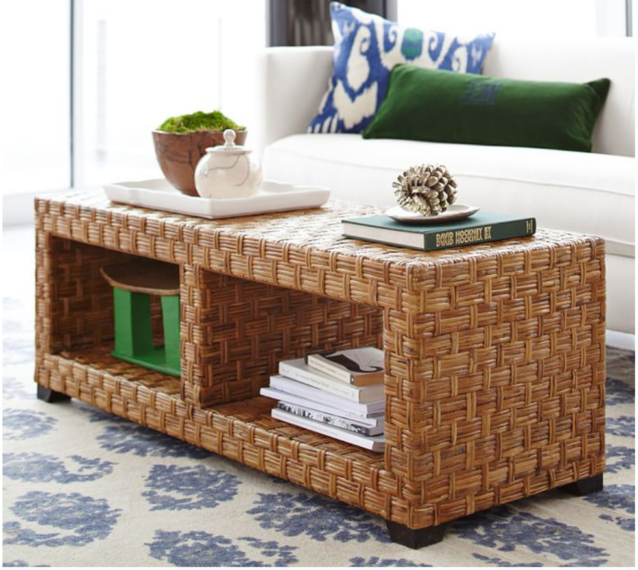 Pottery Barn Rattan Coffee Table
