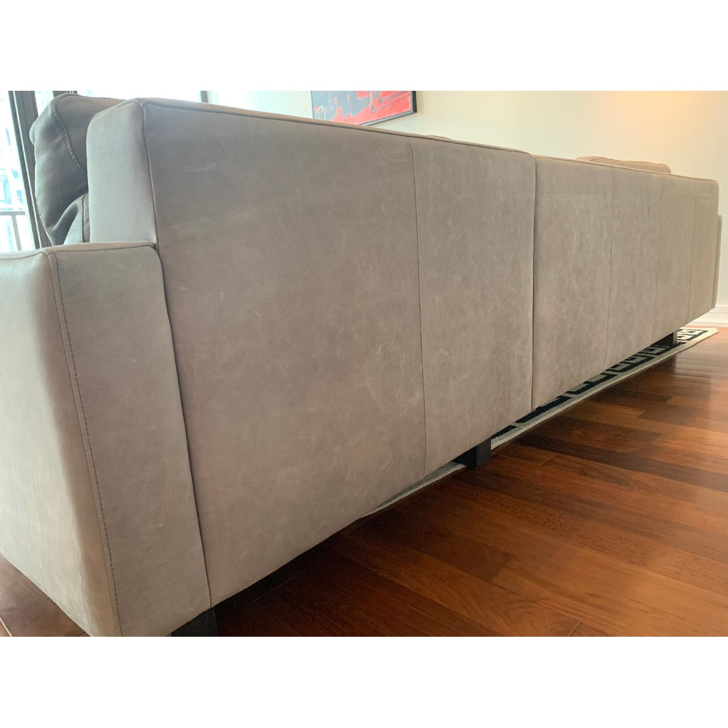 Room & Board Hess Grey Leather Sectional Sofa