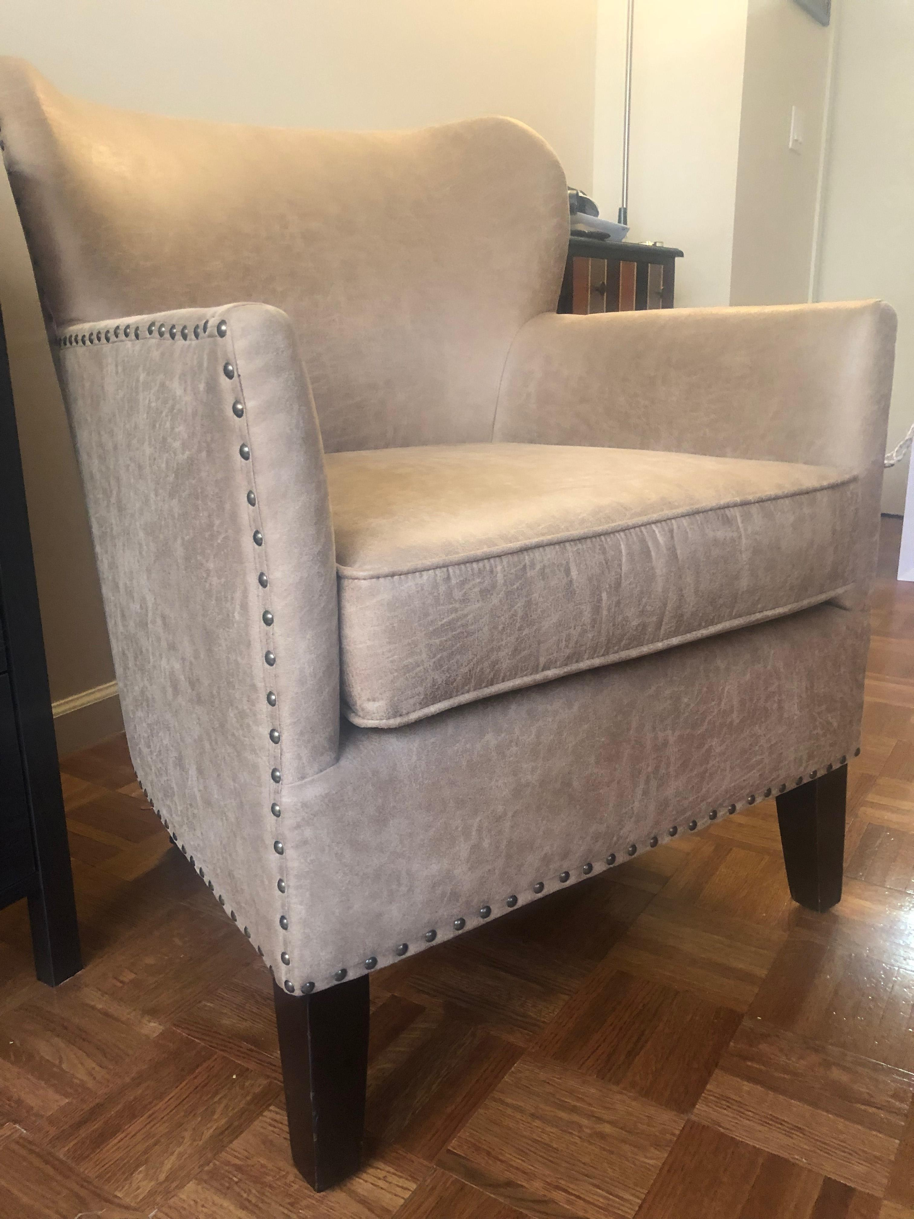 Pottery Barn Suede Armchair w/ Nailheads