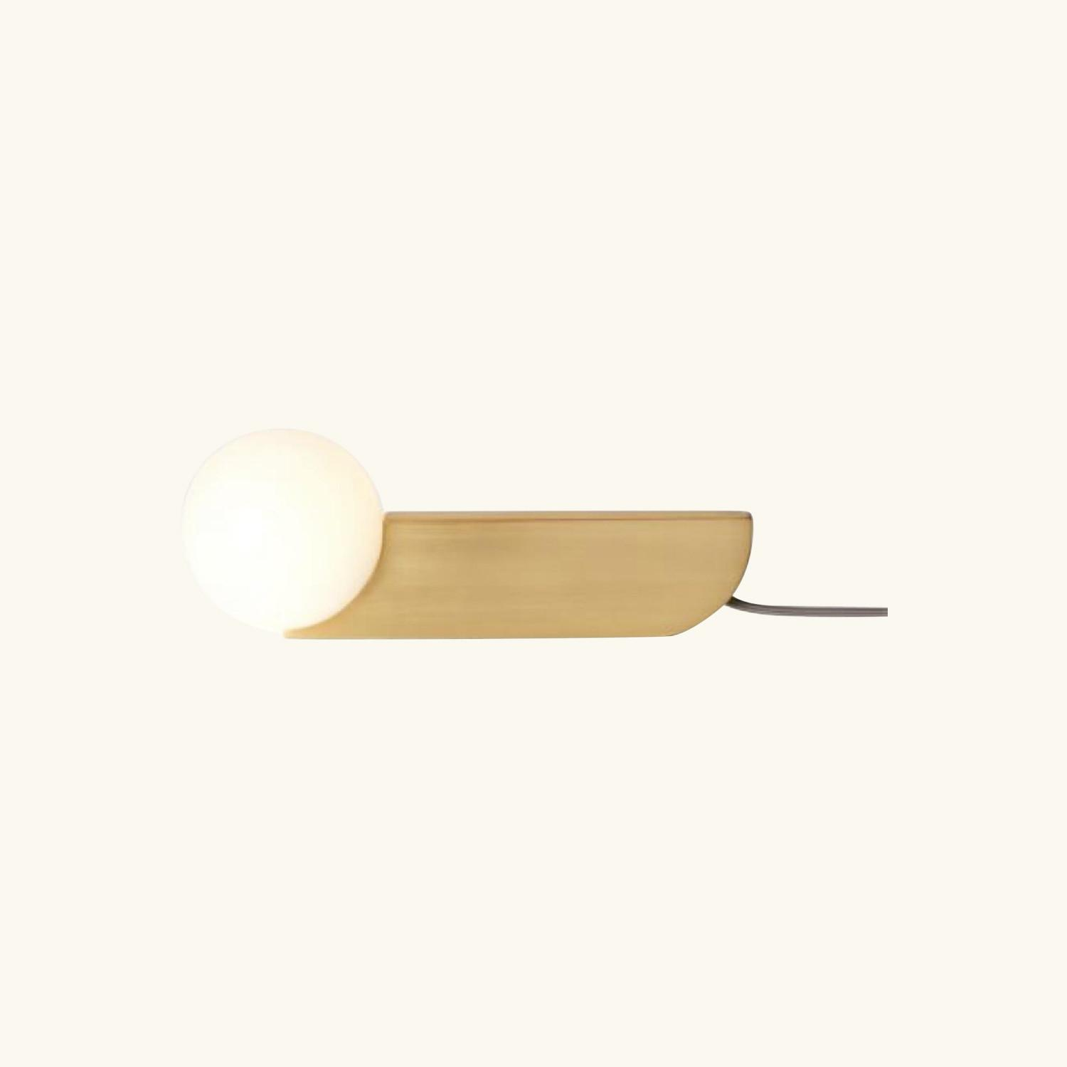West Elm Bower Table Lamp in Antique Brass Frosted Glass