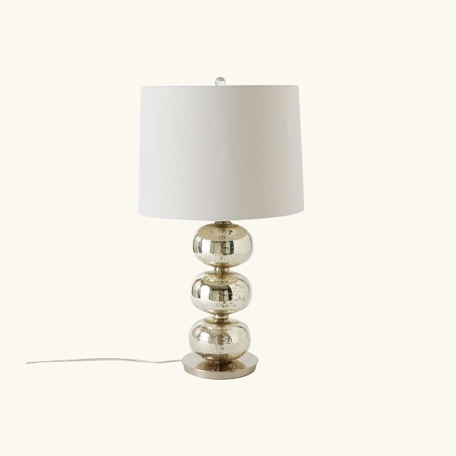 West Elm Abacus Table Lamp in Mercury/White Linen