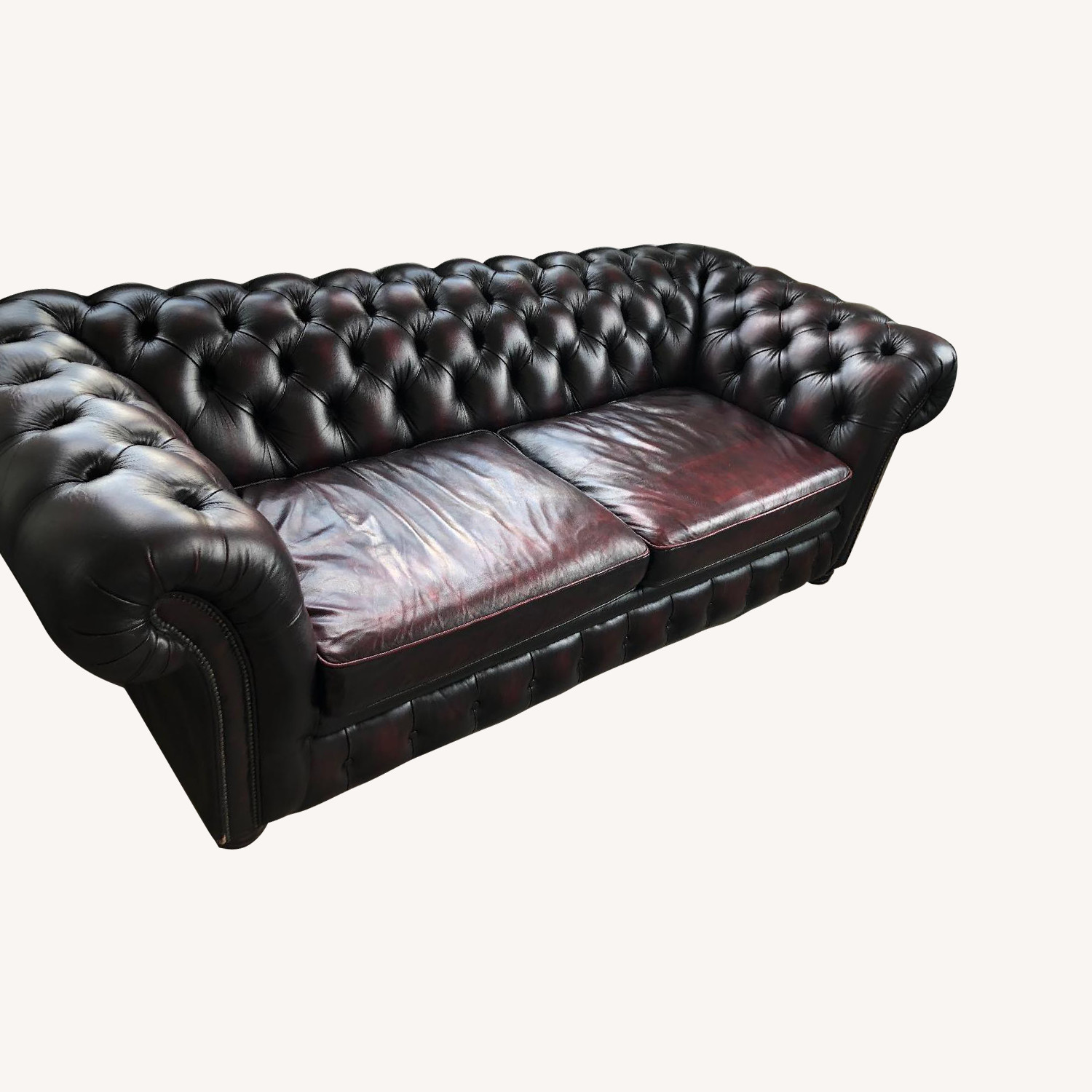 Leather Chesterfield Sofa in Oxblood Red
