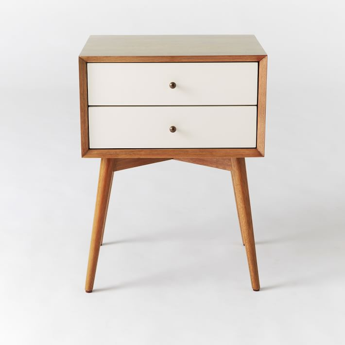West Elm Mid Century Nightstand in White Lacquer /Acorn