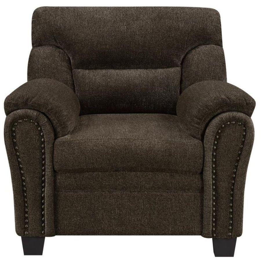 Armchair in Brown Chenille Fabric & Nailhead Trims