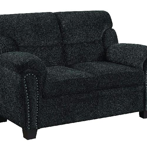Used Loveseat in Graphite Chenille Fabric & Nailhead Trims for sale on AptDeco