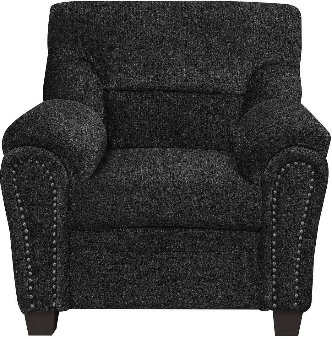 Armchair in Graphite Chenille Fabric & Nailhead Trims