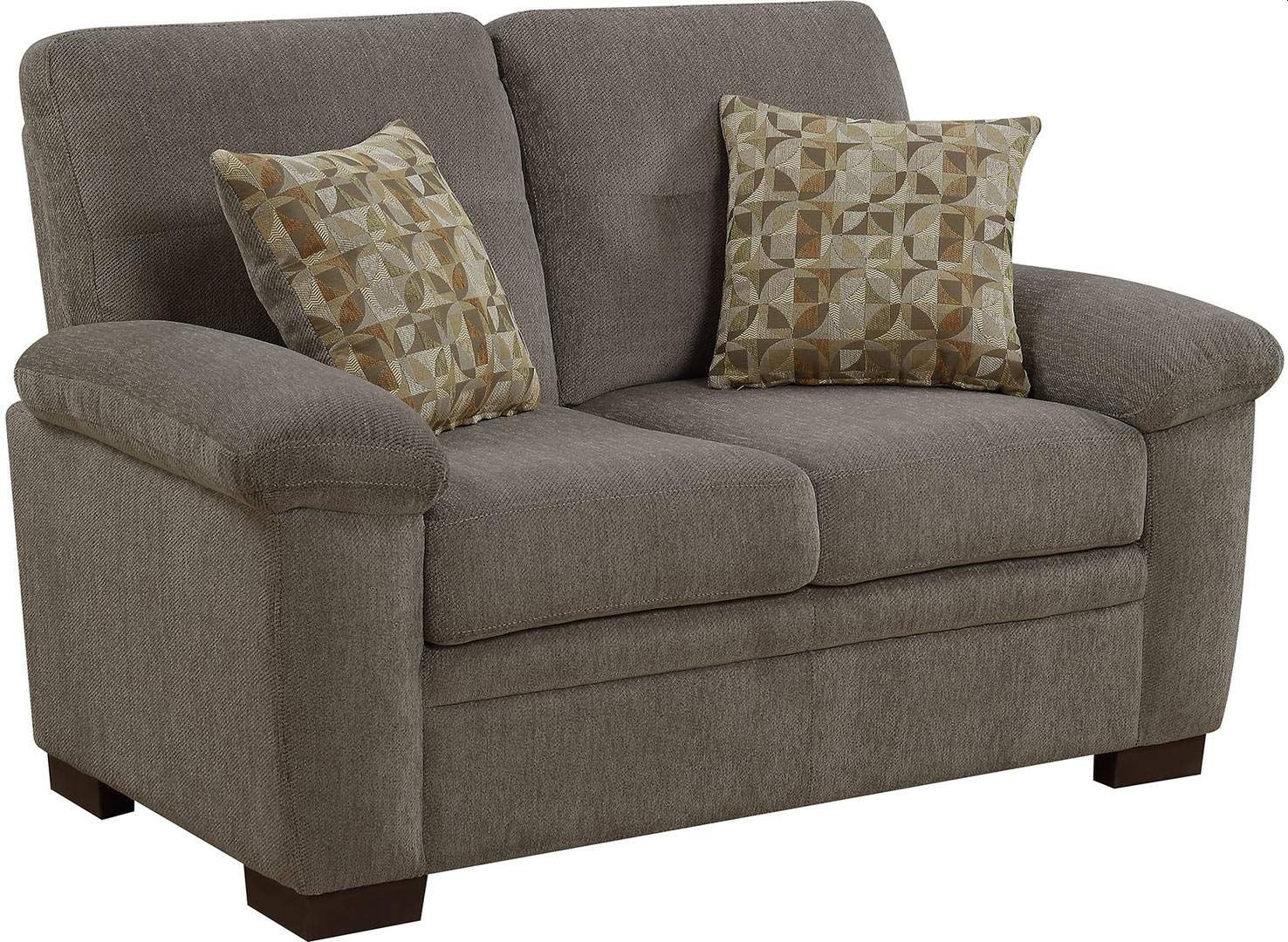 Casual Loveseat in Oatmeal Chenille Fabric