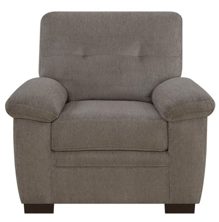Casual Armchair in Oatmeal Chenille Fabric